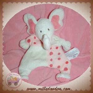 TCF SOS DOUDOU ELEPHANT MARIONNETTE BLANC POIS ROSE