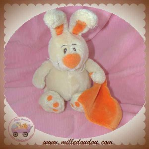 ANNA CLUB PLUSH DOUDOU LAPIN ECRU ORANGE MOUCHOIR SOS
