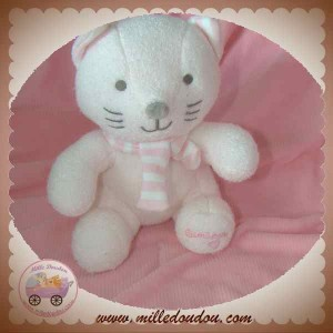 LUMINOU DOUDOU SOS CHAT ROSE ECHARPE RAYE ASSIS