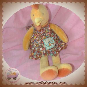 MOULIN ROTY SOS DOUDOU POULE COQ ORANGE ROBE 20 cm