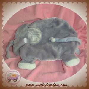 DIMPEL SOS DOUDOU ELEPHANT PLAT GRIS BLANC BOLLI