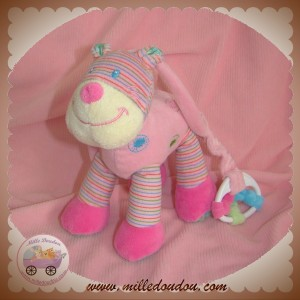 NICOTOY DOUDOU TIGRE CHAT ROSE MUSICAL SOS