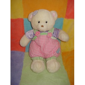 GUND SOS DOUDOU OURS BLANC SALOPETTE VICHY ROSE
