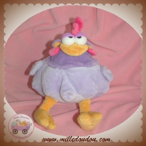 ANNA CLUB PLUSH DOUDOU POULE COQ VIOLETTE ORANGE SOS