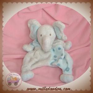 TCF SOS DOUDOU ELEPHANT MARIONNETTE BLANC POIS BLEU 17AAZELEFAN