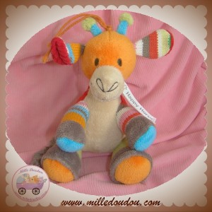 HAPPY HORSE DOUDOU GIRAFE MUSICAL ORANGE LAINE SOS