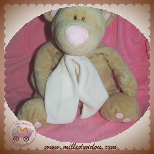 JOLLYBABY DOUDOU OURS RICKY BEIGE ECHARPE ROSE 30 CM SOS