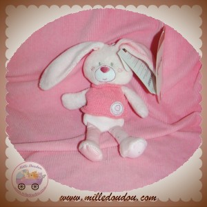 BERLINGOT DOUDOU LAPIN FILLE ROSE MOUCHOIR CAJOU SOS