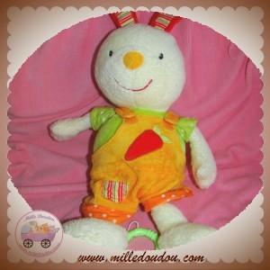 BABYSUN SOS DOUDOU LAPIN ECRU SALOPETTE ORANGE CAROTTE MUSICAL BABY SUN