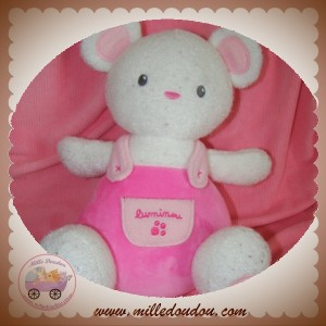 LUMINOU DOUDOU SOURIS OURS FLUORESCENT SALOPETTE ROSE SOS