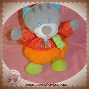 MOTS D'ENFANTS DOUDOU CHAT BOULE MUSICAL ROUGE ORANGE SOS