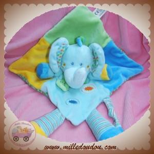VETIR DOUDOU ELEPHANT PLAT BLEU VERT JAUNE NICOTOY SOS