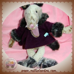 MOULIN ROTY DOUDOU LOUP CHARLES GRIS MANTEAU VIOLET SOS