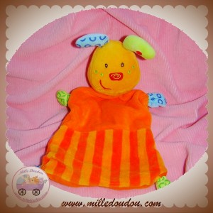 BABY CLUB C&A DOUDOU LAPIN PLAT ORANGE RAYE SOS