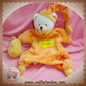 BABYNAT BABY NAT SOS DOUDOU OURS MARIONNETTE ORANGE POUDRE A DORMIR
