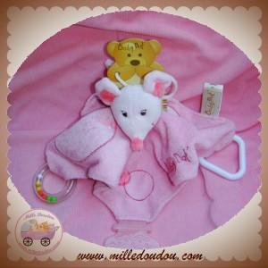 BABYNAT BABY NAT SOS DOUDOU SOURIS ROSE PLAT MOUCHOIR ACTIVITE