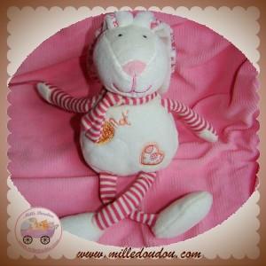 BABYNAT BABY NAT DOUDOU LAPIN BLANC RAYE ROSE FLEUR COEUR SOS