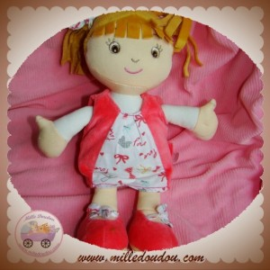 DOUDOU ET COMPAGNIE POUPEE FILLE BLONDE ROBE ROSE LOVE SOS