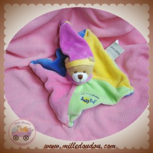 BABYNAT BABY NAT SOS DOUDOU OURS PLAT ROSE JAUNE BLEU LES BONBONS