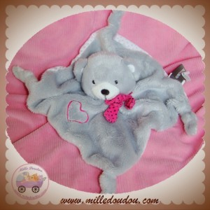 ORCHESTRA SOS DOUDOU OURS GRIS PLAT NOEUD COEUR ROSE