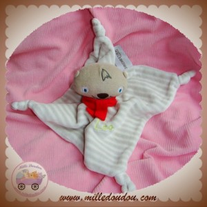 ORCHESTRA SOS DOUDOU OURS LEO BEIGE PLAT RAYE GRIS NOEUD ECHARPE ROUGE