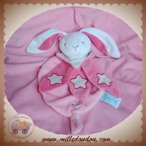 BABYNAT BABY NAT SOS DOUDOU LAPIN BLANC PLAT ROSE FLUORESCENT ETOILE