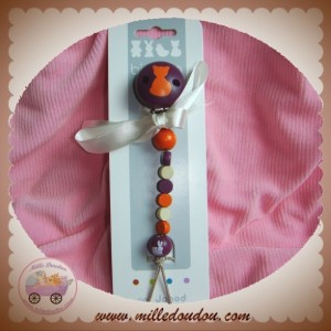 JANOD ATTACHE TETINE DOUDOU EN BOIS CHAT VIOLET ORANGE