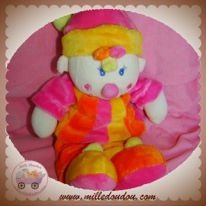 MGM SOS DOUDOU CLOWN JAUNE ORANGE ROSE HOCHET