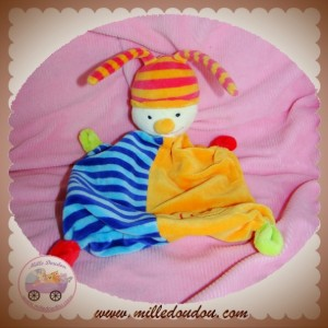 BABY CLUB C&A SOS DOUDOU LUTIN CLOWN PLAT BLEU RAYE ORANGE SPIRALE