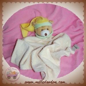 BABYNAT BABY NAT DOUDOU OURS BEIGE PLAT LOSANGE ECRU JAUNE VERT SOS