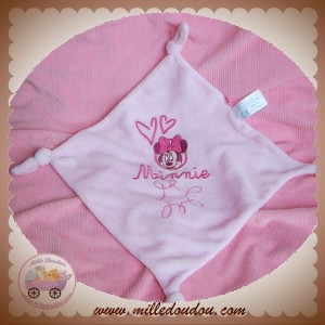 DISNEY SOS DOUDOU MOUCHOIR PLAT ROSE MINNIE NOEUD CARREFOUR
