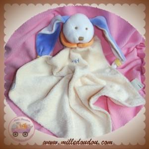 BABYNAT BABY NAT DOUDOU LAPIN BLANC PLAT LOSANGE ECRU OREILLE BLEU SOS