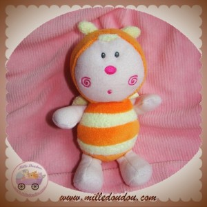 LUMINOU SOS DOUDOU PAPILLON RAYE ORANGE JAUNE 17 CM