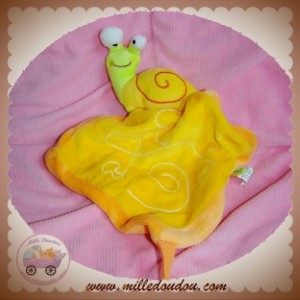 LIBOO CREATIVTOYS SOS DOUDOU ESCARGOT PLAT MOUCHOIR JAUNE ORANGE CHAMPIGNON