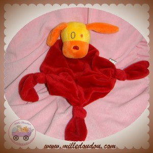 CARREBLANC SOS DOUDOU CHIEN ORANGE PLAT LOSANGE ROUGE NOEUD