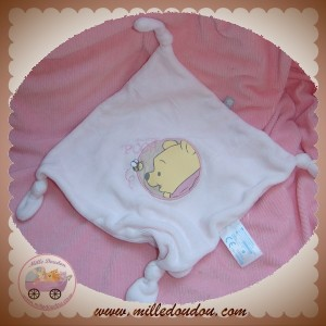 DISNEY SOS DOUDOU MOUCHOIR PLAT ROSE WINNIE BABY NOEUD CARREFOUR