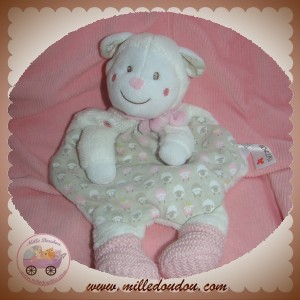 nicotoy sos doudou mouton blanc plat rose gris tissu. Black Bedroom Furniture Sets. Home Design Ideas