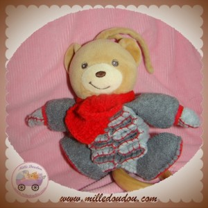 KALOO SOS DOUDOU OURS HIVER GRIS ROUGE MUSICAL