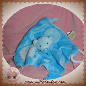 BABYNAT BABY NAT SOS DOUDOU OURS BLEU PLAT MOUCHOIR ACTIVITE