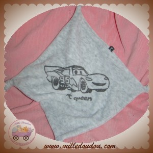 DISNEY SOS DOUDOU MOUCHOIR PLAT GRIS VOITURE MC QUEEN NOEUD