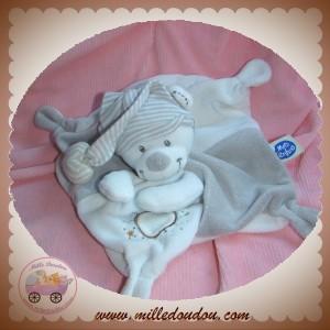 MOTS D'ENFANTS SOS DOUDOU OURS PLAT BLANC GRIS ETOILES SOS