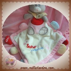 BABYNAT BABY NAT SUPER SOS DOUDOU CHAT OURS GRIS PLAT MOUCHOIR ROSE ECRU