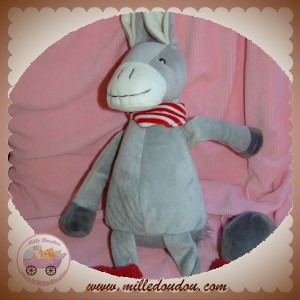 RAYNAUD LES PETITES MARIE DOUDOU CHEVAL ANE GRIS JAMBIERES ROUGE 50 CM SOS