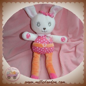 TEX SOS DOUDOU LAPIN ROSE ORANGE HIBOU POIS