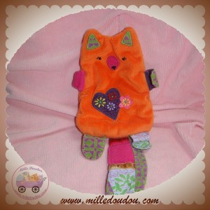 CATIMINI SOS DOUDOU ECUREUIL PLAT ORANGE QUEUE TISSU VIOLET COEUR