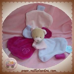BABYNAT BABY NAT SOS DOUDOU OURS PLAT VIOLET ROSE PETALE FLEUR
