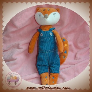KIMBALOO SOS DOUDOU RENARD ORANGE SALOPETTE BLEU TRIANGLE