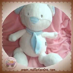 BABYSUN DOUDOU LAPIN BLANC BLEU WHITE IS WHITE 26 CM SOS