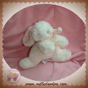 JACADI SOS DOUDOU LAPIN BONBON ALLONGE BLANC ROSE 11 cm