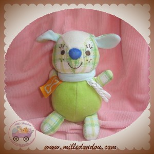 HAPPY HORSE SOS DOUDOU LAPIN VERT VELOUR TISSU CARREAU COLLIER BLEU